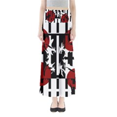 Red, Black And White Elegant Design Maxi Skirts by Valentinaart
