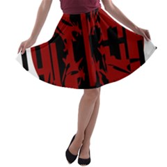 Red, Black And White Decorative Design A Line Skater Skirt by Valentinaart