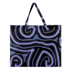 Blue Abstract Design Zipper Large Tote Bag by Valentinaart