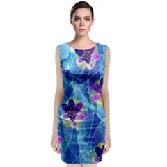 Purple Flowers Classic Sleeveless Midi Dress by DanaeStudio
