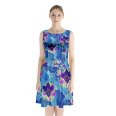 Purple Flowers Sleeveless Waist Tie Dress by DanaeStudio