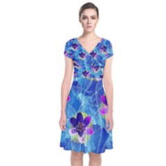 Purple Flowers Short Sleeve Front Wrap Dress by DanaeStudio