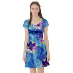 Purple Flowers Short Sleeve Skater Dress by DanaeStudio
