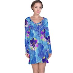 Purple Flowers Long Sleeve Nightdress by DanaeStudio
