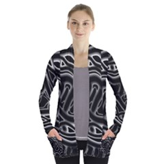 Black and white decorative design Women s Open Front Pockets Cardigan(P194) by Valentinaart