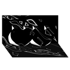 Black And White Twin Hearts 3d Greeting Card (8x4) by Valentinaart