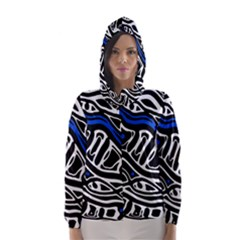 Deep blue, black and white abstract art Hooded Wind Breaker (Women) by Valentinaart