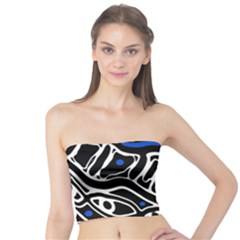 Deep Blue, Black And White Abstract Art Tube Top by Valentinaart