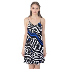 Deep blue, black and white abstract art Camis Nightgown by Valentinaart
