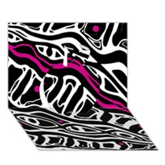 Magenta, Black And White Abstract Art Apple 3d Greeting Card (7x5) by Valentinaart
