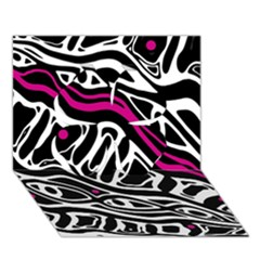 Magenta, Black And White Abstract Art Clover 3d Greeting Card (7x5) by Valentinaart