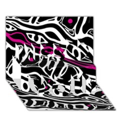 Magenta, Black And White Abstract Art Miss You 3d Greeting Card (7x5) by Valentinaart