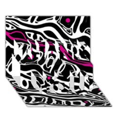 Magenta, Black And White Abstract Art Thank You 3d Greeting Card (7x5) by Valentinaart