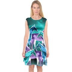 Horses Under A Galaxy Capsleeve Midi Dress by DanaeStudio