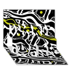 Yellow, Black And White Abstract Art Work Hard 3d Greeting Card (7x5) by Valentinaart