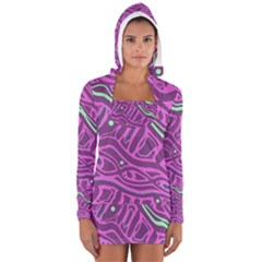Purple and green abstract art Women s Long Sleeve Hooded T-shirt by Valentinaart