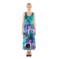 Horses Under A Galaxy Sleeveless Maxi Dress by DanaeStudio