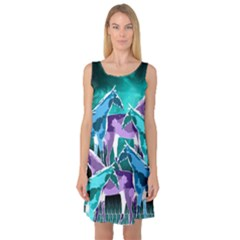Horses Under A Galaxy Sleeveless Satin Nightdress by DanaeStudio