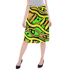 Yellow, Green And Oragne Abstract Art Midi Beach Skirt