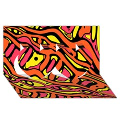 Orange Hot Abstract Art Twin Hearts 3d Greeting Card (8x4) by Valentinaart