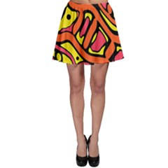 Orange hot abstract art Skater Skirt