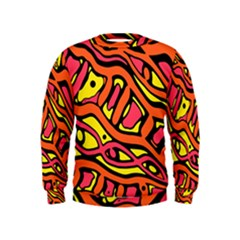 Orange hot abstract art Kids  Sweatshirt by Valentinaart