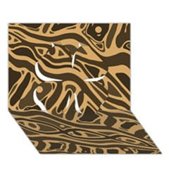 Brown Abstract Art Clover 3d Greeting Card (7x5) by Valentinaart
