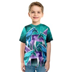 Horses Under A Galaxy Kid s Sport Mesh Tee by DanaeStudio