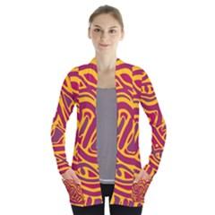 Orange Abstract Art Women s Open Front Pockets Cardigan(p194)