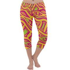 Orange Hot Abstract Art Capri Yoga Leggings by Valentinaart
