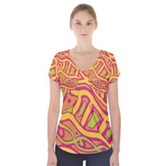 Orange hot abstract art Short Sleeve Front Detail Top by Valentinaart