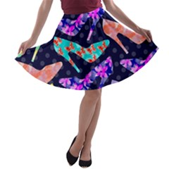 Colorful High Heels Pattern A Line Skater Skirt by DanaeStudio