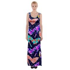 Colorful High Heels Pattern Maxi Thigh Split Dress by DanaeStudio