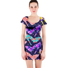 Colorful High Heels Pattern Short Sleeve Bodycon Dress by DanaeStudio