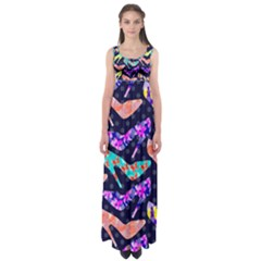 Colorful High Heels Pattern Empire Waist Maxi Dress by DanaeStudio