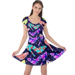 Colorful High Heels Pattern Cap Sleeve Dress by DanaeStudio