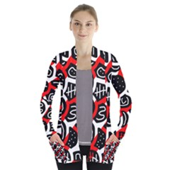 Red playful design Women s Open Front Pockets Cardigan(P194) by Valentinaart