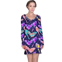 Colorful High Heels Pattern Long Sleeve Nightdress by DanaeStudio