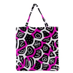 Magenta Playful Design Grocery Tote Bag by Valentinaart