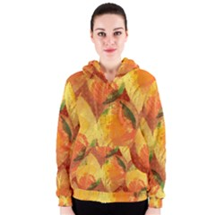 Fall Colors Leaves Pattern Women s Zipper Hoodie by DanaeStudio