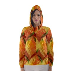 Fall Colors Leaves Pattern Hooded Wind Breaker (women) by DanaeStudio