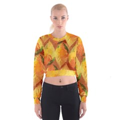 Fall Colors Leaves Pattern Women s Cropped Sweatshirt by DanaeStudio