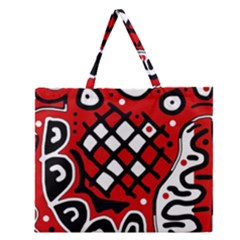 Red High Art Abstraction Zipper Large Tote Bag by Valentinaart