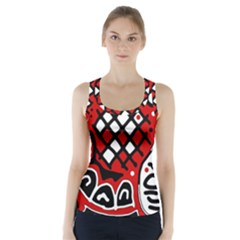 Red high art abstraction Racer Back Sports Top by Valentinaart