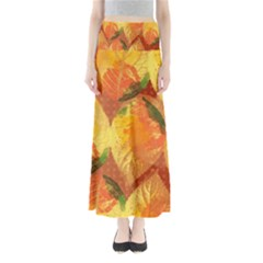 Fall Colors Leaves Pattern Women s Maxi Skirt by DanaeStudio