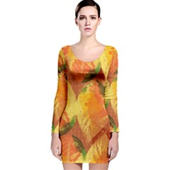 Fall Colors Leaves Pattern Long Sleeve Velvet Bodycon Dress by DanaeStudio