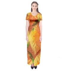 Fall Colors Leaves Pattern Short Sleeve Maxi Dress by DanaeStudio