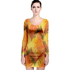Fall Colors Leaves Pattern Long Sleeve Bodycon Dress by DanaeStudio