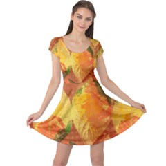 Fall Colors Leaves Pattern Cap Sleeve Dress by DanaeStudio