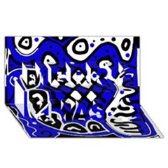Blue High Art Abstraction Merry Xmas 3d Greeting Card (8x4) by Valentinaart